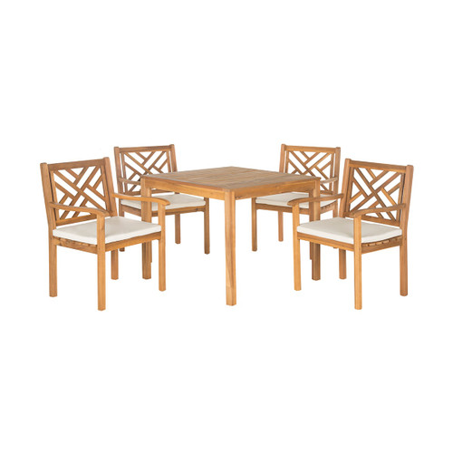 Safavieh PAT6720A Bradbury 5 Piece Outdoor Dining Set Made with Eco Friendly and Attractive Acacia Wood