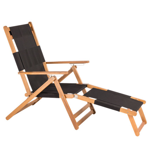 """Patio Sense 62730 Varadero 24"""" Wide Wood Frame Outdoor Foldable Beach Chair with Leg Rest"""