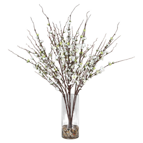 Uttermost 60128 Quince Blossoms 30 Inch Wide Glass Potted Plant with Artificial Greenery by Constance Lael-Linyard