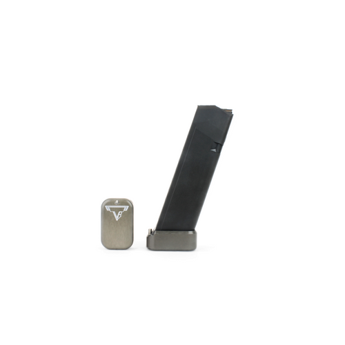 Taran Tactical +2/4 Glock Basepad in 9mm & 40 S&W Titanium Gray grey