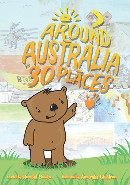 Starting in Brisbane and ending in Capalaba (the home of Wombat Books), on each page of the book Wombat tells readers what makes the location special. Wombat slops on some sunscreen to visit the beaches of Gold Coast. He spots a roo at Taronga Zoo and gets out his cricket bat to play at Adelaide Oval.
