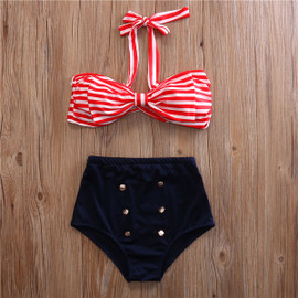 Mommy Elsa Retro Style High Waist Two Piece Swimsuits