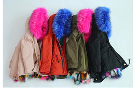 Keep Me Cozy The Original COLORBLOCK FAUX FUR PARKA Coat(Royal Blue)