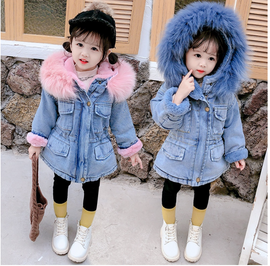 FAUX FUR Denim JACKET Kids Infant Girl Parka(pink)