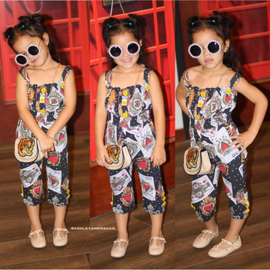 SLAY BlackJack Cards print jumpsuit Toddler & Girls