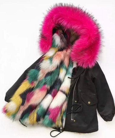 Keep Me Cozy The Original COLORBLOCK FAUX FUR PARKA Coat(HOT-PINK)