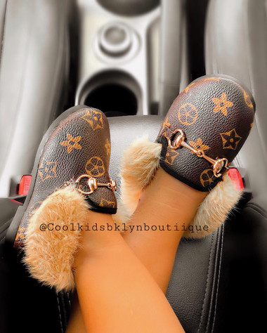 Children's Faux Leather Loafers  with faux fur(UNISEX)