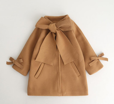 VERONICA Wool Bowknot Pea Trench Coat (Toddlers & Girls