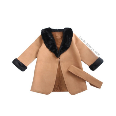 Sarahi Wool FAUX FUR Trench Coat (Toddlers & Girls