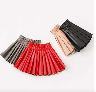 FAUX LEATHER Pleated Skirt Elastic Waisted(Toddler and Girls)