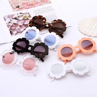 Vintage Kids Sunglasses Round Flower Gafas Baby Children
