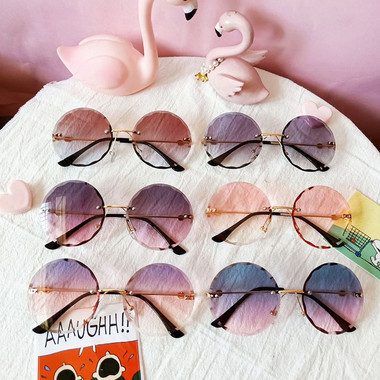 Amelia Metal Round Rimless Frame Sunglasses KIDS