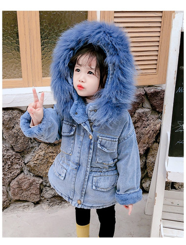 FAUX FUR Denim JACKET Kids Infant Girl Parka(BLUE)
