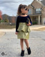 FAUX LEATHER PEARL Ruffled SKIRT(OLIVE~GREEN)