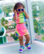 Toddler Girls Tie Dye Graphic Skirt Set