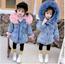 FAUX FUR Denim JACKET Kids Infant Girl Parka(pink)