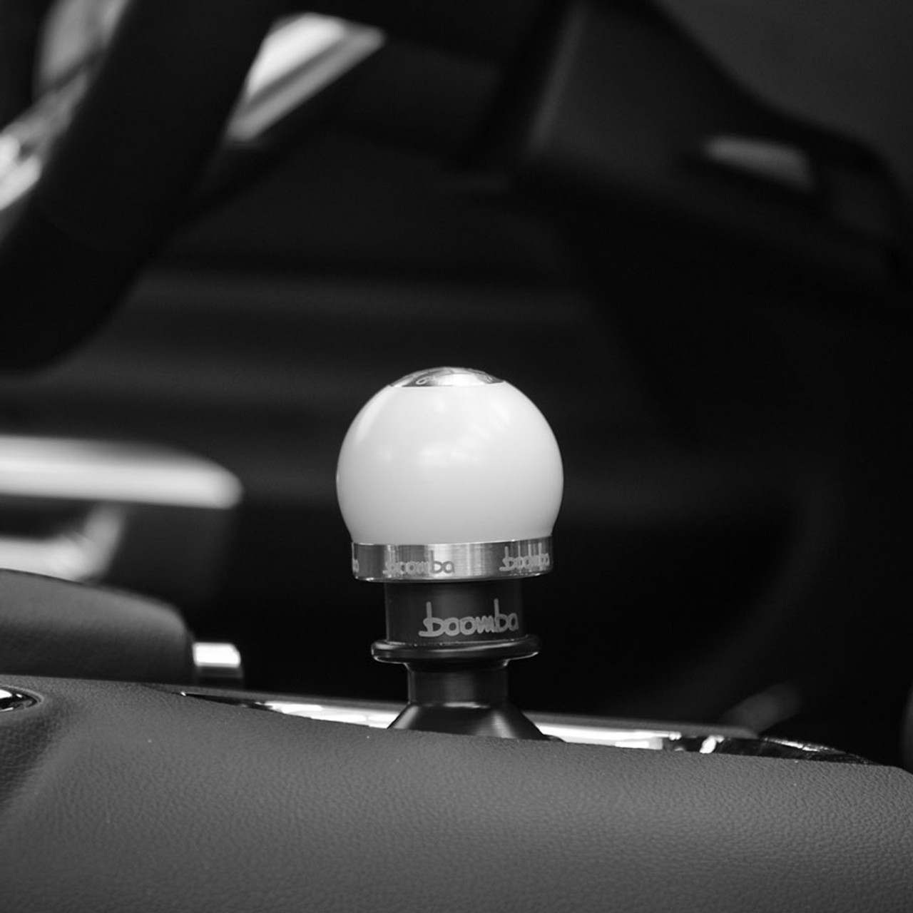 Mustang GT White Round 220g Shift Knob - V2