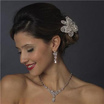 Couture Cubic Zirconia Silver Clear CZ Necklace & Earring Set WS1296