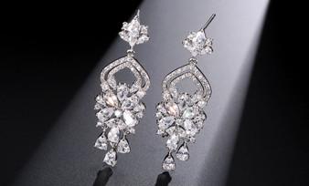 Teardrop CZ Wedding Dangle Earrings Silver, Gold or Rose Gold
