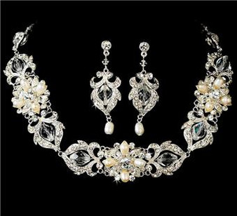 Couture Beautiful Crystal Bridal Wedding Prom Freshwater Pearl Jewelry Set  WS7844