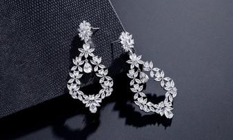 Intricate Clear CZ Crystal Chandelier Earrings