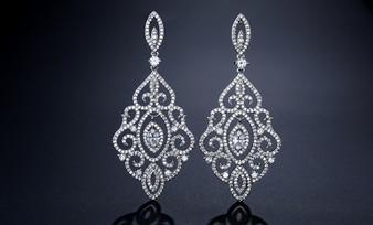 Glamorous Chandelier CZ Crystal Earrings in Silver, Rose Gold