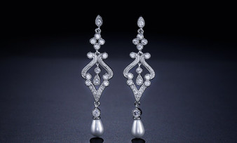 CZ Cystal and Pearl Wedding Earrings in Silver