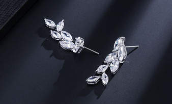 Floral CZ Drop Wedding Earrings - Silver, Gold or Rose Gold