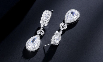 Chloe Silver or Rose Gold CZ Pear Drop Wedding Earrings