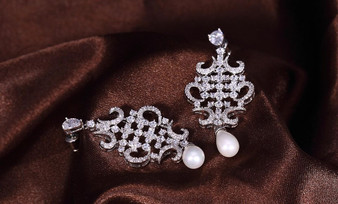 Fabulous Silver Clear Cubic Zirconia Dangle Earrings