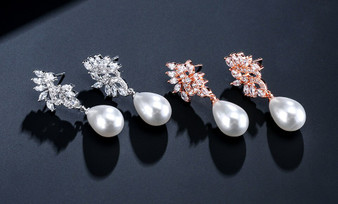 Pearl and CZ Drop Wedding Earrings in Silver, Rose Gold