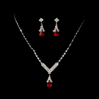 4 Sets of Silver Red Crystal Drop Bridesmaid Jewelry Set