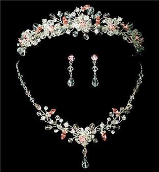 Pink Crystal Wedding Tiara & Matching Jewelry Set WA8003p