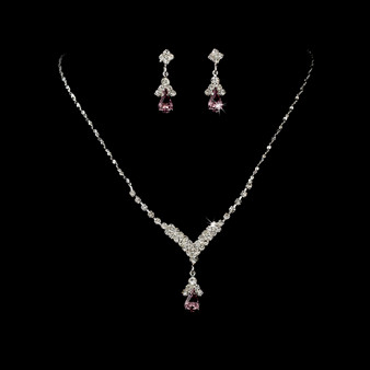 4 Sets of Silver Light Amethyst Crystal Drop Bridesmaid Jewelry Set
