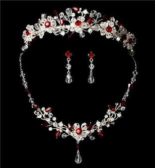 Garnet Red  Crystal Wedding Tiara & Matching Jewelry Set WA8003