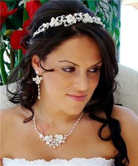 Couture Freshwater Pearls Wedding Tiara & Matching Jewelry Set WA7803