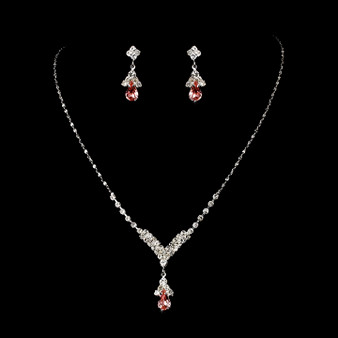 4 SETS of Silver Pink Crystal Drop Bridesmaid Jewelry Set