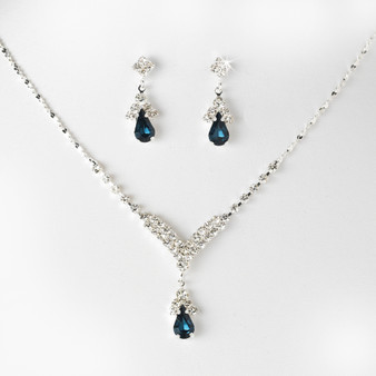 4 SETS of Silver Navy Blue Crystal Drop Bridesmaid Jewelry Set