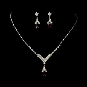 4 SETS of Silver Dark Amethyst Crystal Drop Bridesmaid Jewelry Set