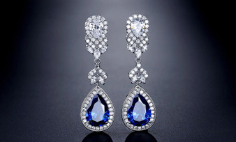 Sapphire Blue CZ Wedding and Formal Earrings