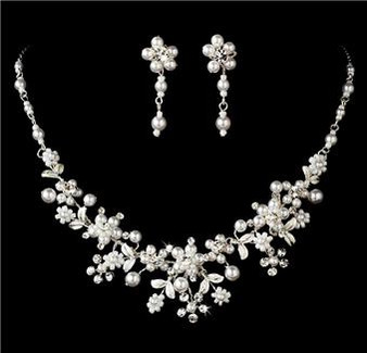 Beautiful Crystal Pearl Bridal Wedding Necklace Earrings Set S8001