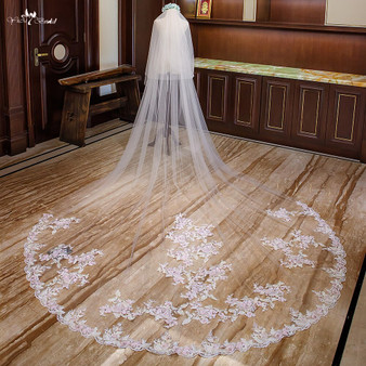 pink cathedral wedding veil