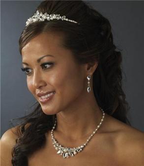 Couture Swarovski Crystal Pearl Bridal Wedding Necklace Earring Set & Tiara A8234-8234