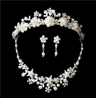 Couture Crystal Pearl Bridal Wedding Jewelry Set & Tiara A8001-6443