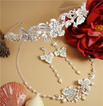 Couture Crystal Freshwater Pearl Bridal Wedding Headpiece & Jewelry Set A7803