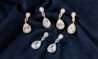 Drop CZ Wedding Earrings in SIlver, Gold or Rose Gold