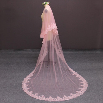 pink cathedral veil with lace