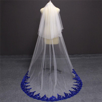 blue bridal cathedral veil