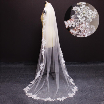 embellished lace long veil
