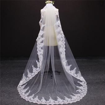 beautiful lace long veil